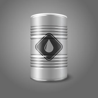 オイルサインイラストと現実的な大きな石油バレル