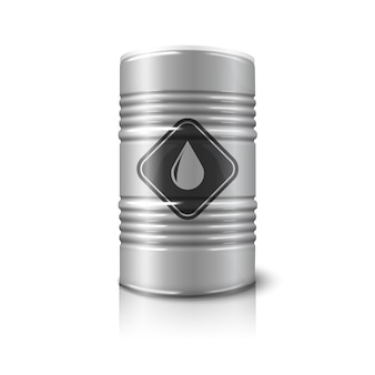 Realistic big oil barrel with oil sign, isolated on white background with reflection.