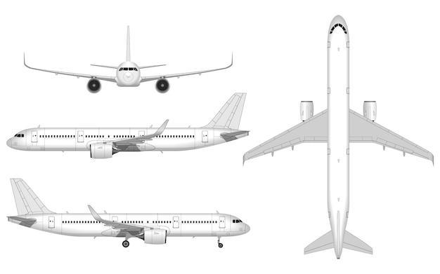 現実的な大きな旅客機。上からの眺め。正面図;側面図。