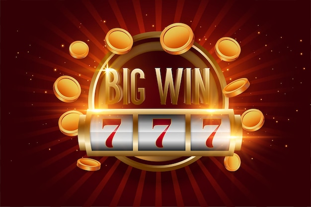 Realistic big win slot with golden coins