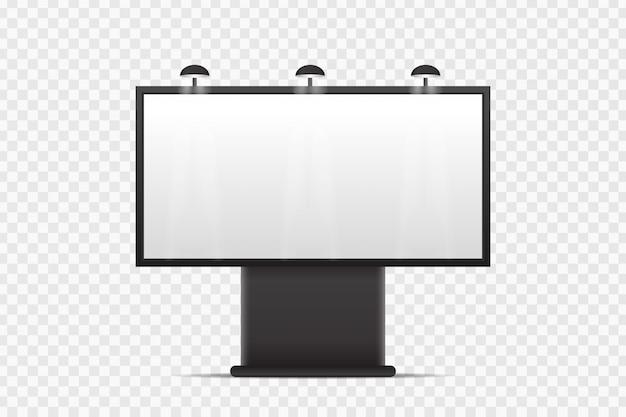 透明な背景をカバーするための現実的な看板。空のテンプレートは、装飾と広告のためにモックアップします。