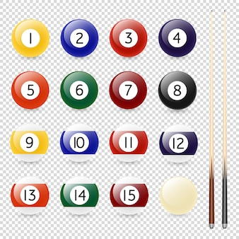 Realistic billiard balls and cue closeup isolated on transparent background.