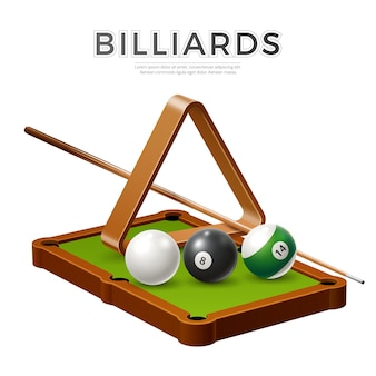 Realistic billiards snooker or pool banner with balls cue stick and triangle at billiards table