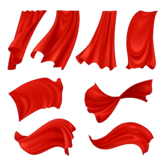 Realistic billowing red cloth