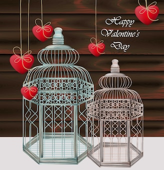 Realistic bird cages with hearts, happy valentine's day card