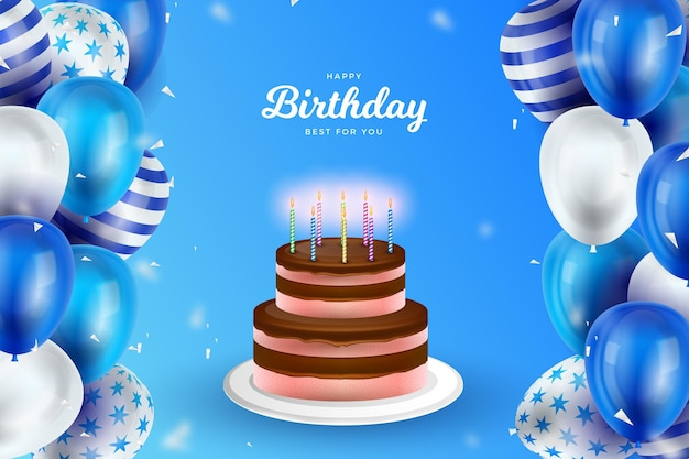 Realistic birthday background concept