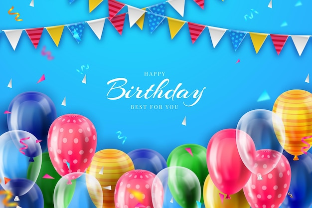 Realistic birthday background theme