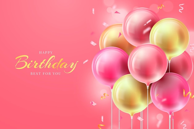 Realistic birthday background with balloons