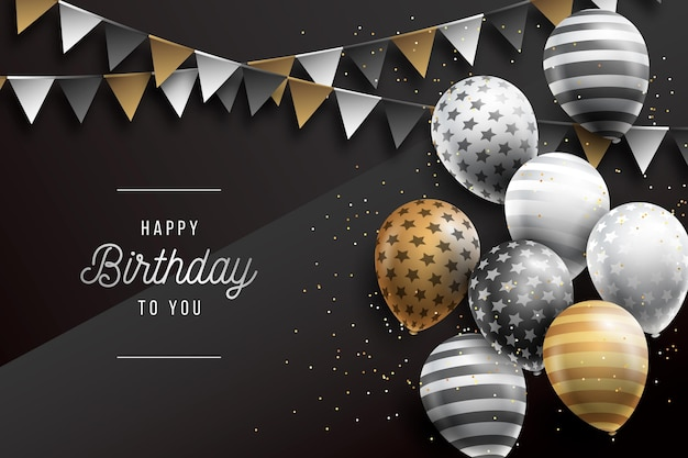 Реалистичный фон дня рождения с воздушными шарами