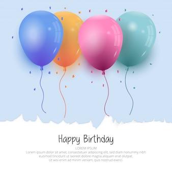 Realistic birthday balloon background