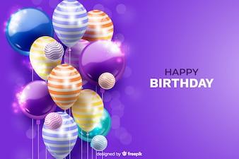 Реалистичный день рождения воздушный шар фон