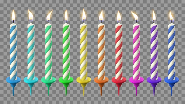 Realistic birthday candles. birthday cake candlelight, holidays flaming wax candle. party celebration colorful candles  illustration set. candle birthday with candlelight, holiday fire