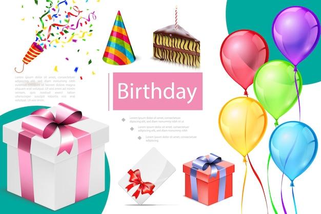 Composizione realistica degli elementi di compleanno con l'illustrazione del pezzo di torta del cracker del cappello del partito della carta dell'invito dei palloncini colorati delle scatole presenti