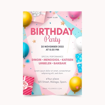 Realistic birthday flyer template