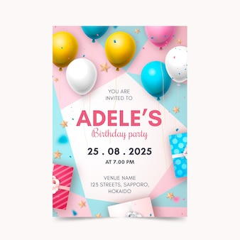 Realistic birthday invitation template