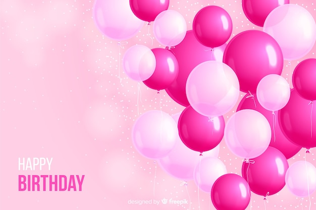 Realistic birthday party balloon background