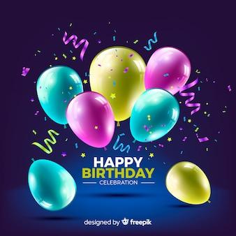 Реалистичный день рождения с фоном воздушных шаров