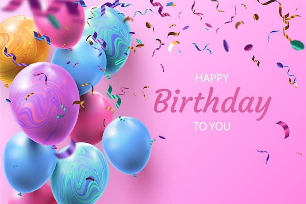Compleanno realistico per te palloncini e coriandoli di sfondo