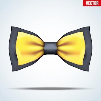 Реалистичный черно-золотой галстук-бабочка