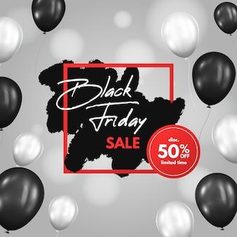 Реалистичная черно-белая распродажа в черную пятницу