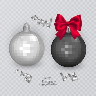 赤い弓のクリスマスの装飾が施されたリアルな黒と白のクリスマスボール