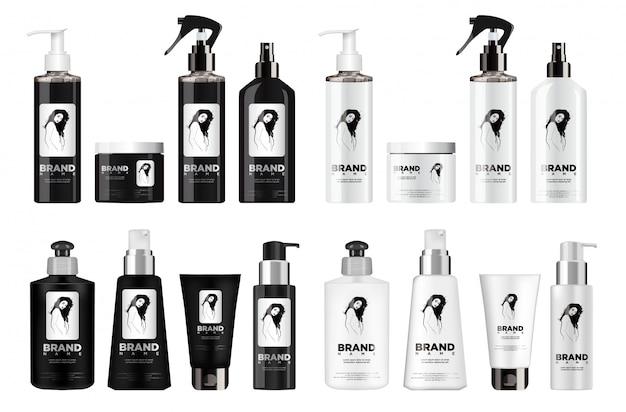 現実的な黒と白の化粧品セット