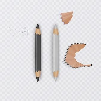 Реалистичные, черно-белые карандаши на прозрачном