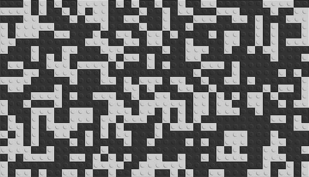現実的な黒と白のプラスチック製の建設ブロック。