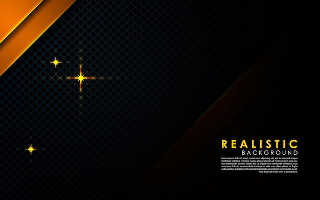 Realistic black background with gold layer