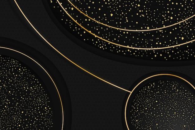 金色のテクスチャとリアルな黒の背景