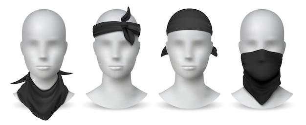 Реалистичная черная бандана иллюстрация Premium векторы
