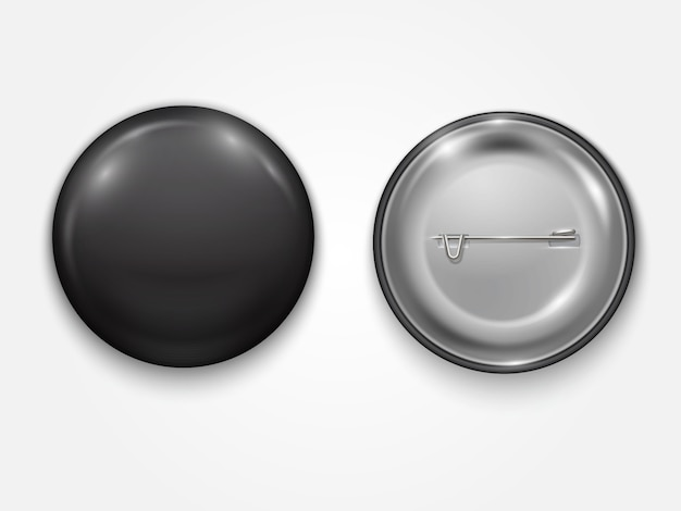 Realistic black blank  badge, vector realistic illustration isolated
