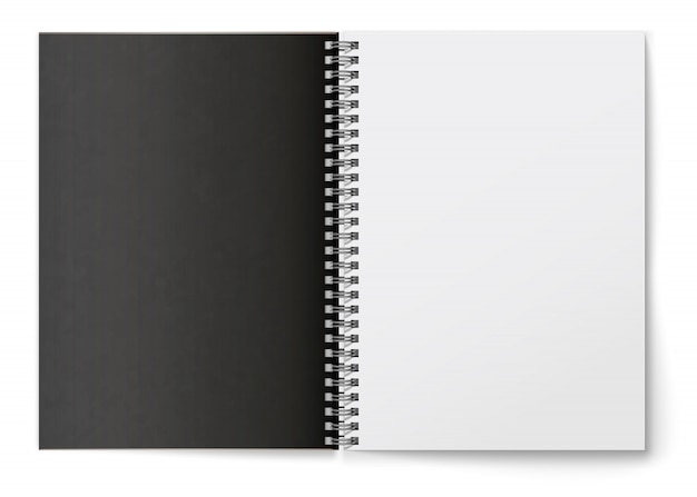 Realistic  black blank   horizontal open  realistic spiral notepad .