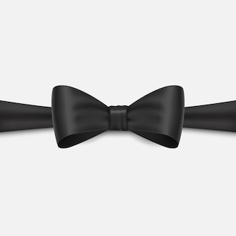 Realistic black bow isolated on white background.