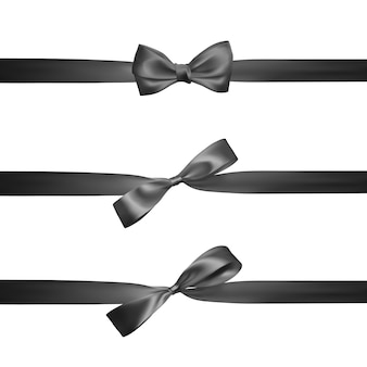 Realistic black bow with horizontal black ribbons isolated on white. element for decoration gifts, greetings, holidays.