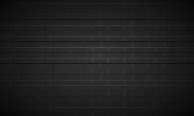 Realistic black brick wall background