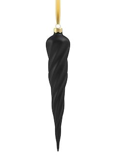 つらら、らせん状のリアルな黒いクリスマスツリーのおもちゃ。クリスマスデザイン、モックアップの3dイラストオブジェクト。