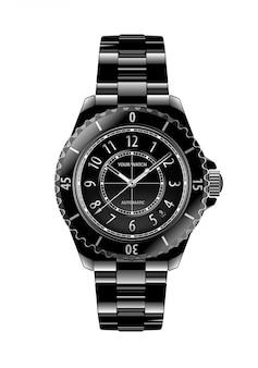 Realistic black chronograph wristwatch white number luxury white