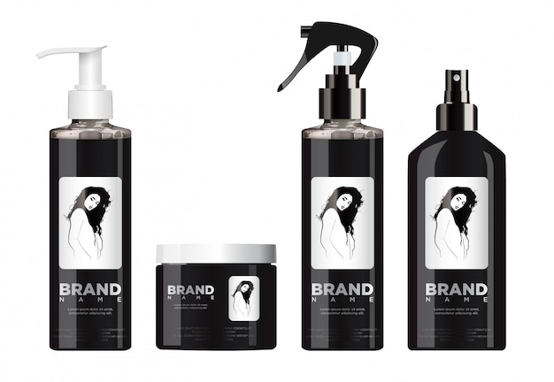 Реалистичный черный косметический набор макет с белой и черной крышкой.