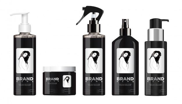 白と黒のふた付きリアルな黒化粧品セット