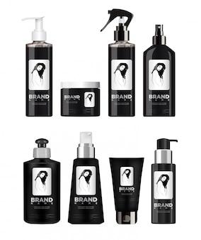 Realistic black cosmetic set