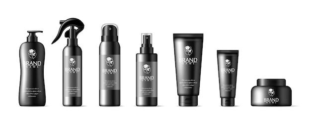 分離されたリアルな黒い化粧品チューブ。ボトルのコレクション。