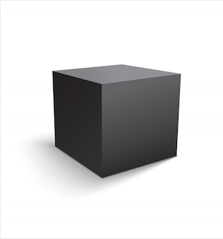 Realistic black cube or box isolated