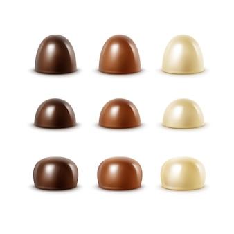 リアルなブラックダークビターホワイトミルクチョコレートキャンディー