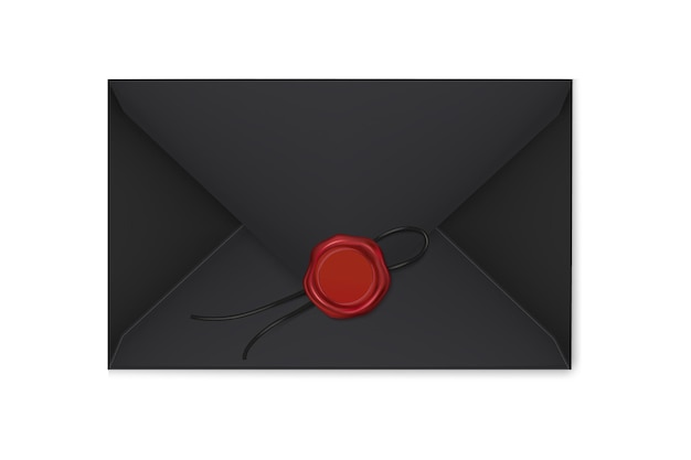 Realistic black envelopes with a stamp