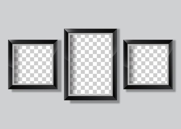 Реалистичная черная рамка галереи фото