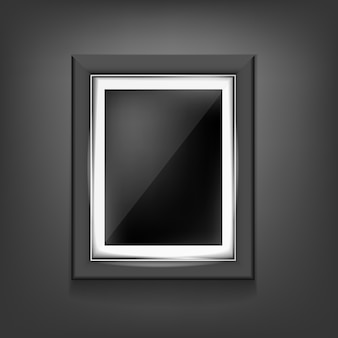 Realistic black frame template on black background with