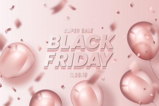 Realistic black friday background with balloons