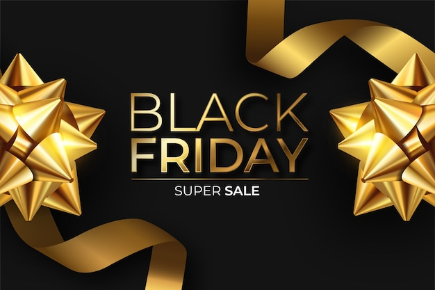 Realistic black friday banner in black and golden