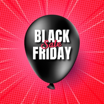 Realistic black friday banner with balloon